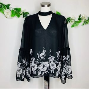 White House Black Market Floral Choker Top